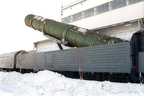 Trens porta-mísseis são mais protegidos contra um ataque nuclear inimigo do que os sistemas terrestres móveis sobre rodas Foto: Aleksandr Babenko/TASS