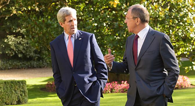 Serguéi Lavrov y John Kerry se reunieron en París. Fuente: Eduard Pesov/Ministerio de Asuntos Exteriores de la Federación de Rusia.