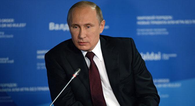 El presidente ruso durante su intervención en el foro Valdái. Fuente: RIA Novosti.