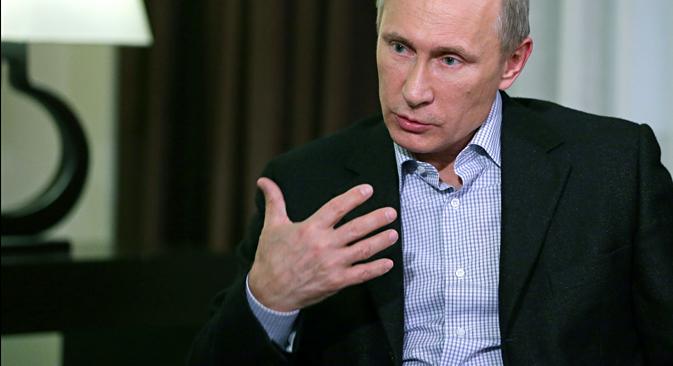 La agencia TASS entrevista a Vladímir Putin . Fuente: TASS / Mijaíl Metsel