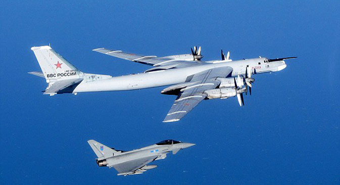 Eurofighter Typhoon multirole fighter escorting a Tu-95 Bear strategic bomber. MoD/Crown Copyright