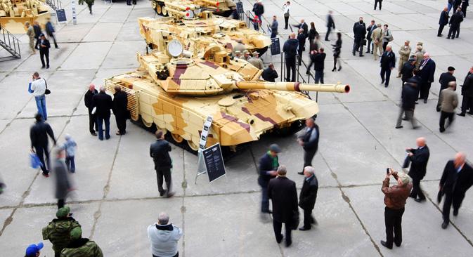 Un tanque 'Terminator' BMPT en la Feria de equipamiento militar de Nihzni-Taguil. Fuente: Serguéi Mámontov/RIA Novosti.