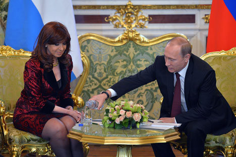 Cristina Fernández de Kirchner y Vladímir Putin durante la reunión en Moscú. Fuente: Alexéi Druzhinin/RIA Novosti