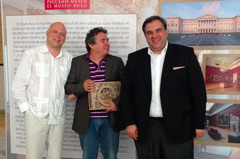 El ministro de cultura de Cuba, Julián González (en el centro) y sus colegas rusos durante la presentación del proyecto. Fuente: Elena Nóvikova