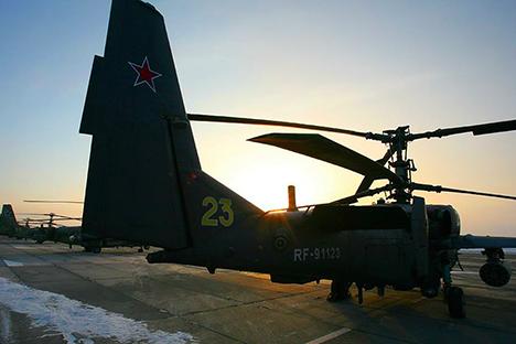 Modelo Ka-52 serve perfeitamente para uso em terreno montanhoso Foto: Ministério da Defesa Russo