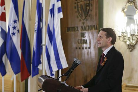El presidente de la Duma Estatal, Sergey Naryshkin, durante la conferencia en La Habana. Fuente: VGTRK