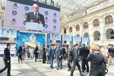 Serguéi Kirienko, director general de Rosatom, durante la muestra Atomexpo en Moscú. Fuente: servicio de prensa