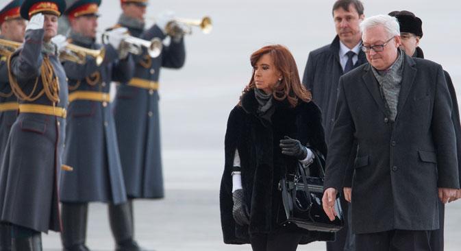 Cristina Fernández de Kircher a su llegada a Moscú. Fuente: Ilyá Pitalev/RIA Novosti.