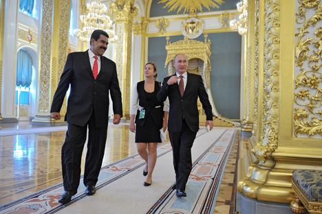 Pútin e Maduro reunidos no Kremlin em janeiro passado