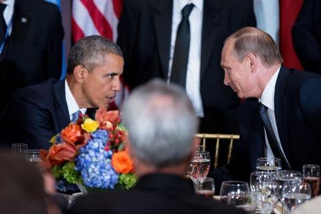 Il Presidente Usa Barack Obama, a sinistra, insieme al Presidente russo Vladimir Putin
