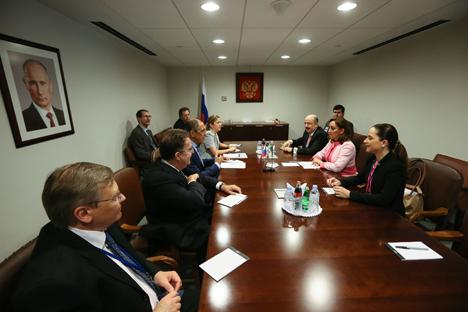 Encuentro del ministro ruso de Exteriores, Serguéi Lavrov, con su homóloga mexicana Claudia Ruiz Massieu, en septiembre.
