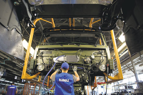 A worker at a Kamaz plant