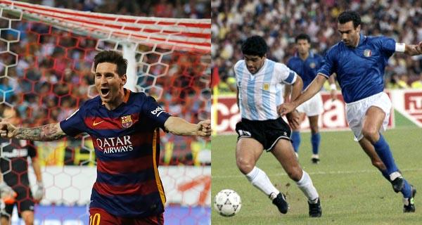 La camiseta de Messi, del Mundial del fútbol de 2010. La camiseta de Maradona, del Mundial de 1986 (Argentina-Bélgica). Fotos: AP