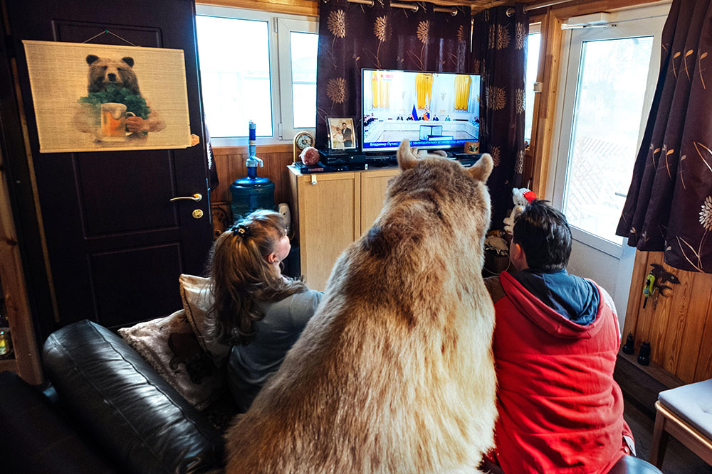 "Stepan the bear lives in a country cottage near Moscow with his ""parents."" And it's not fake."