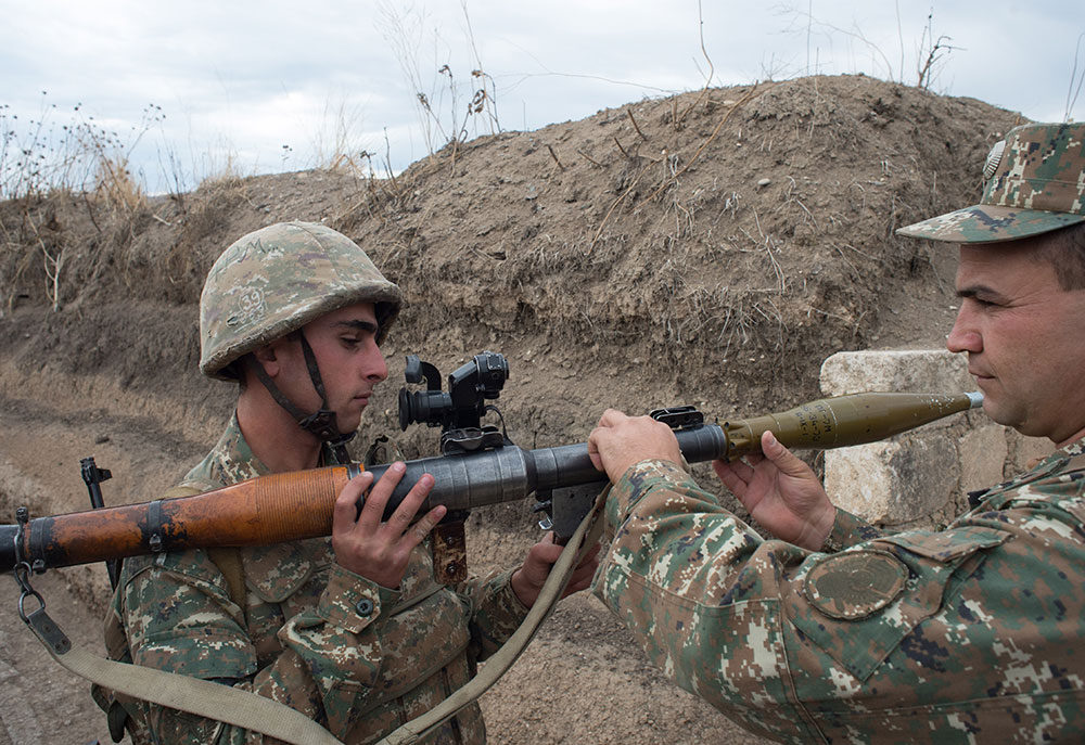 Soldiers of the army of the self-proclaimed Nagorno-Karabakh Republic on the line of contact with Azerbaijan's armed forces outside the town of Martakert.