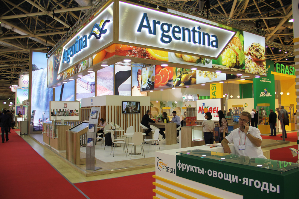 Estande da Argentina na feira World Food Moscow