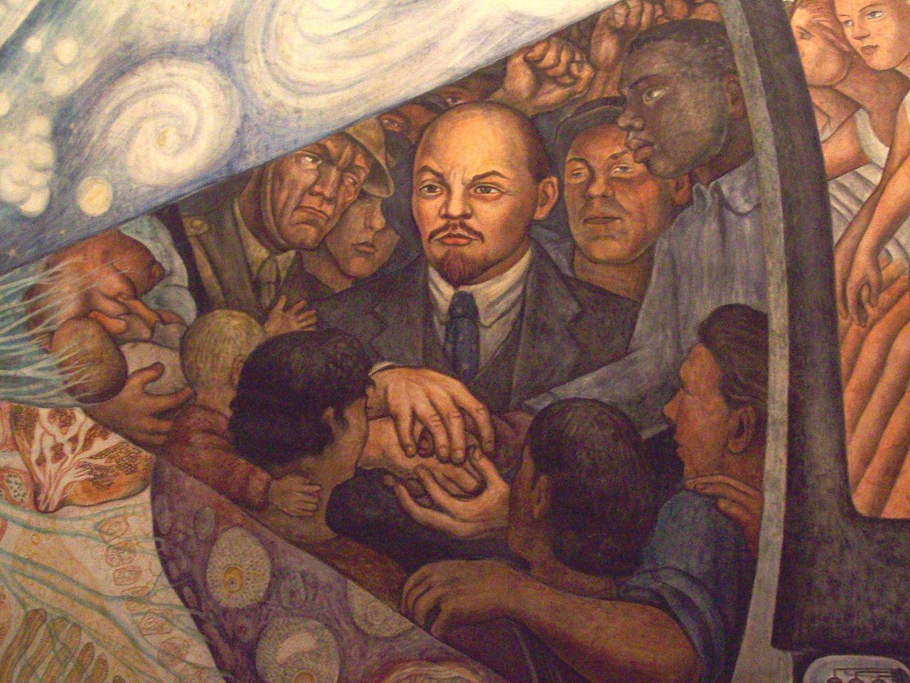 Detalle de Lenin en la obra El hombre en el cruce de caminos (1934) de Diego Rivera, mural en exhibición permanente en el Palacio de Bellas Artes de la Ciudad de México. / Jaontiveros (CC BY-SA 4.0)