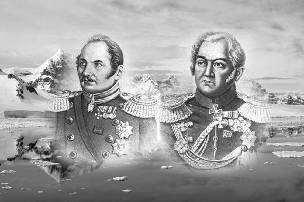 Faddéi Bellingshausen y Mijaíl Lázarev, navegantes rusos que descubrieron el continente Antártico en 1820.