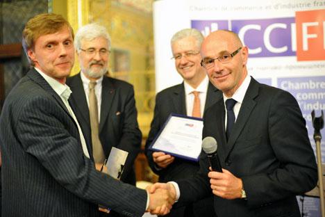 De gauche à droite: Igor Daniolov, fondateur de Dr. Web, Jean de Gliniasty, ambassadeur de France en Russie, Emmanuel Quidet, Président de la CCIFR, Serge Boscher, Directeur général de l'Agence française pour les investissements internationaux (AFII