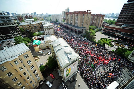 The mass rally in Central Moscow, May 6, 2012.