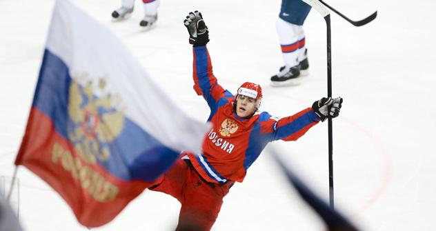 Evgueni Malkine après avoir marqué un but lors de la finale Russie-Slovaquie. Crédit photo: Itar-Tass