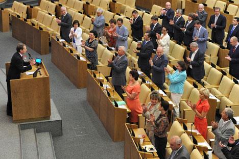 Proposé par le parti au pouvoir, le projet de loi en question a été adopté vendredi dernier par la Douma en première lecture. Crédit photo: Kommersant Photo