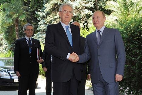 Vladimir Poutine a rencontré le Premier ministre  italien Marion Monti le 23 juillet. Crédit photo: Itar-Tass