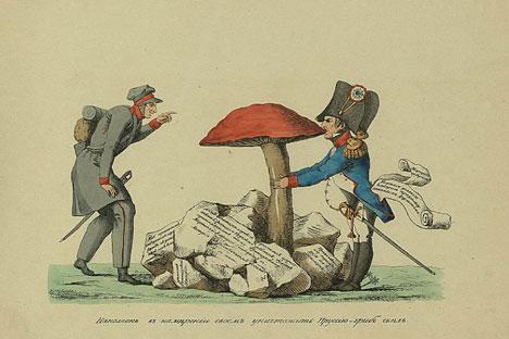 «Dans son projet de détruire la Prusse, Napoléon a avalé un champignon». Image par Ivan Terebnev