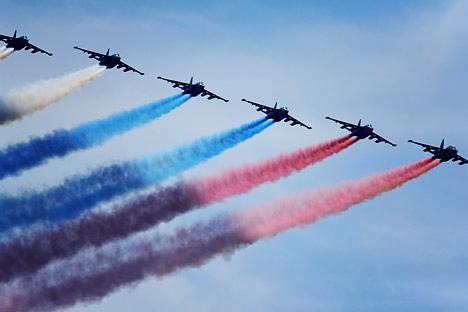 À l'occasion du 100e anniversaire de l'Armée de l'air russe un spectacle aérien est prévu le 11 août à Joukovski, près de Moscou. Crédit photo: Ramil Sitdikov / RIA Novosti