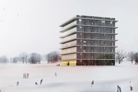 L'édifice ne sera inauguré qu'à la fin de septembre, mais ses futurs résidents ont déjà une idée sur leur nouveau bureau. Source: bernaskoni.com