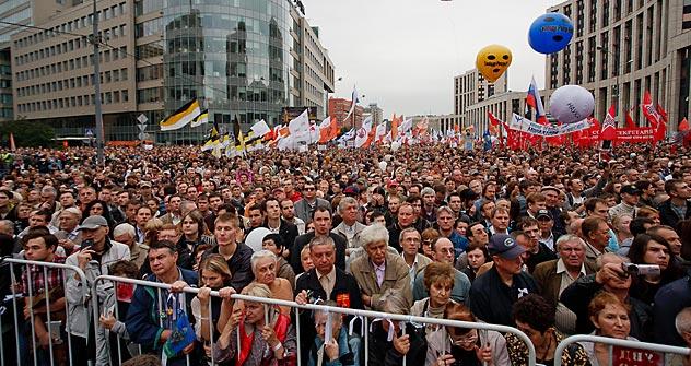 Selon les rapports de police, plus de 14.000 personnes étaient présentes au plus fort du rassemblement. Les opposants affirment qu'il y avait au moins 100.000 personnes. Crédit photo: Rouslan Soukhouchine