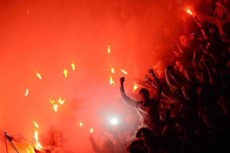 Le président de l'Union des supporters de Russie: «La Russie organisera la Coupe du monde de football 2018 et personne ne veut que la fête soit gâchée par les excès des spectateurs». Crédit: Alexeï Filippov/RIA Novosti