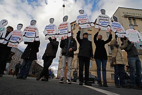 Samedi 27 octobre, le centre de Moscou a accueilli une série de «manifestations en solitaire» organisées en faveur des prisonniers politiques. Crédit: Reuters/VostockPhoto
