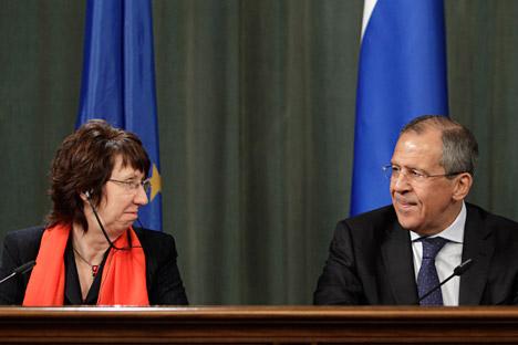 À la veille de son voyage au Luxembourg, Sergueï Lavrov a écrit à Catherine Ashton une lettre pour lui demander d'influencer les membres indécis de l'UE. Crédit: Reuters/Vostock Photo