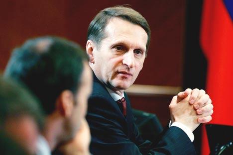 Sergueï Narychkine: «En politique on distingue les catégories d'«adversaires», de compagnons, de collègues, de «membres d'une même équipe», dans laquelle on trouve son leader». Crédit: Itar-Tass