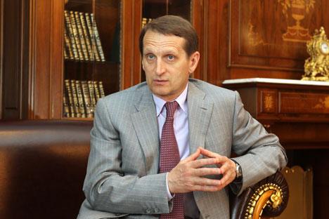 Sergueï Narychkine: «Mes propositions stratégiques avaient peu de chances d'être entendues par un certain nombre de dirigeants de l'Assemblée parlementaire et de délégations russophobes». Crédit: Itar-Tass