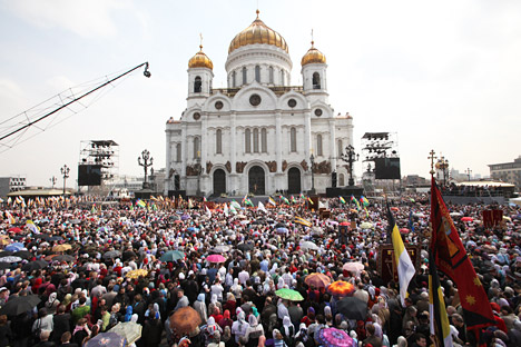Orthodox celebration gathers crowds of people around the country's main church - Moscow's Cathedral of Christ the Savior.