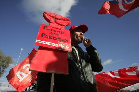 Les syndicalistes de Saint-Pétersbourg protestent contre la réforme du code du travail. Crédit: PhotoXPress
