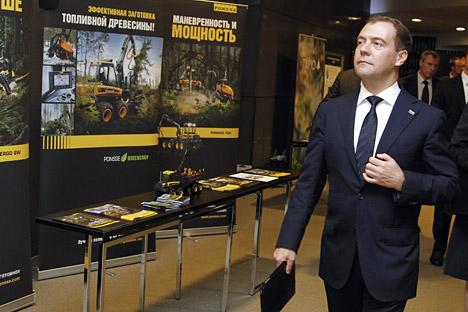 Dmitri Medvedev lors de sa visite en Finlande le 14 novembre. Crédit: Dmitri Astakhov / RIA Novosti