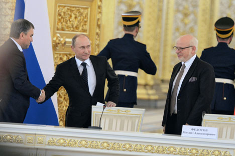 M. Poutine a fait savoir qu'il ne «voyait rien de mal» à l'introduction de peines pour harcèlement suite à des critiques, y compris de la part des journalistes. Crédit: Kommersant