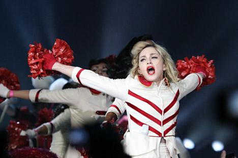 Madonna lors de son concert à Saint-Pétersbourg le 9 août. Crédit: Itar-Tass