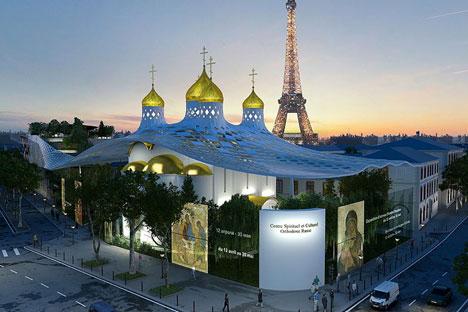 Le projet présenté par Arch group comprend une petite église à cinq coupoles en pierre blanche, recouverte d'un toit de verre rappelant  Crédit: bureau Arch group