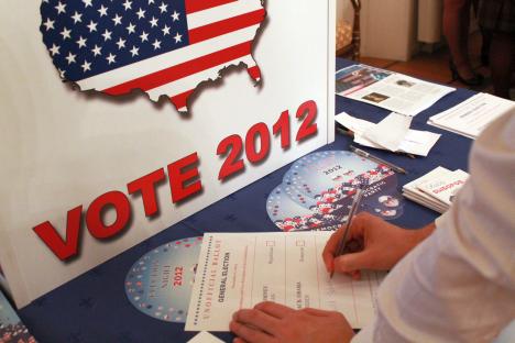 Barack Obama a remporté l'élection présidentielle américaine du 6 novembre face au républicain Mitt Romney en obtenant 274 voix de grands électeurs sur les 270 nécessaires.  Crédit: Pavel Kochkine