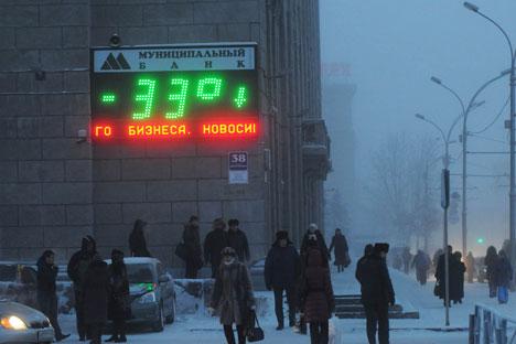 Le thermomètre montre -33° Celsius. Crédit : Andreï Chapran