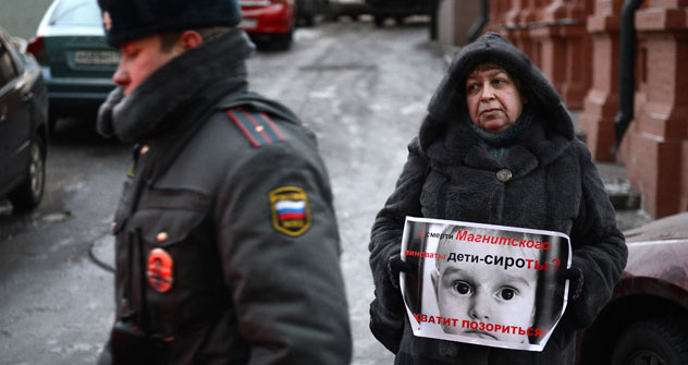 Protests against a ban on Americans adopting Russian children. Source: Maxim Blinov/RIA Novosti