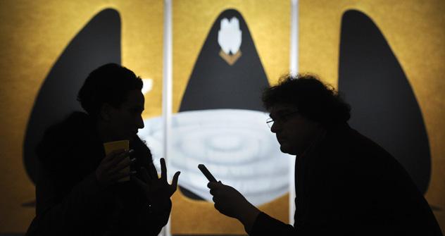 L'artiste et ancienne galeriste Aïdan Salakhova à l'ouverture de son exposition «Fascinans et Tremendum». Crédit: Itar-Tass