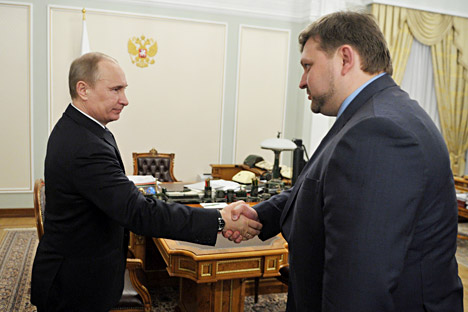 Vladimir Putin and Gov. Nikita Belykh of Kirov Region. Source: Aleksey Nikolsky / RIA Novosti.