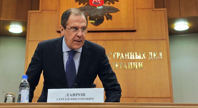 """Sergueï Lavrov : """"Les législateurs américains ont voulu remplacer nos juges dans un domaine qui touche nos affaires intérieures"""". Crédit : Kommersant"""