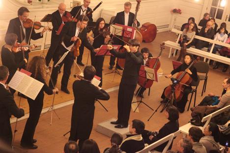 Le festival « Musique du monde contre la guerre » est une performance conjointe des orchestres symphoniques Volgograd et Osnabrück. Crédit photo: Victor Iakouchev