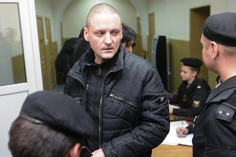 Conformément à la décision du tribunal, Sergueï Oudaltsov devra rester dans son appartement jusqu'au 6 avril minimum. Crédit : Iliya Pitalev/RIA Novosti